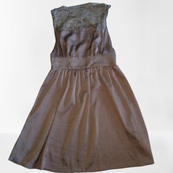 Free People Dresses & Skirts - FREE PEOPLE Gray Lace Top Fit and Flare Dress XS